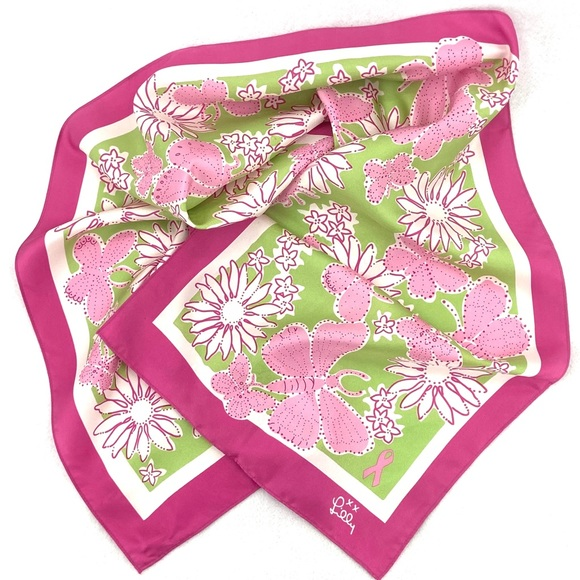 EUC Lilly Pulitzer Pink Green Breast Cancer Scarf